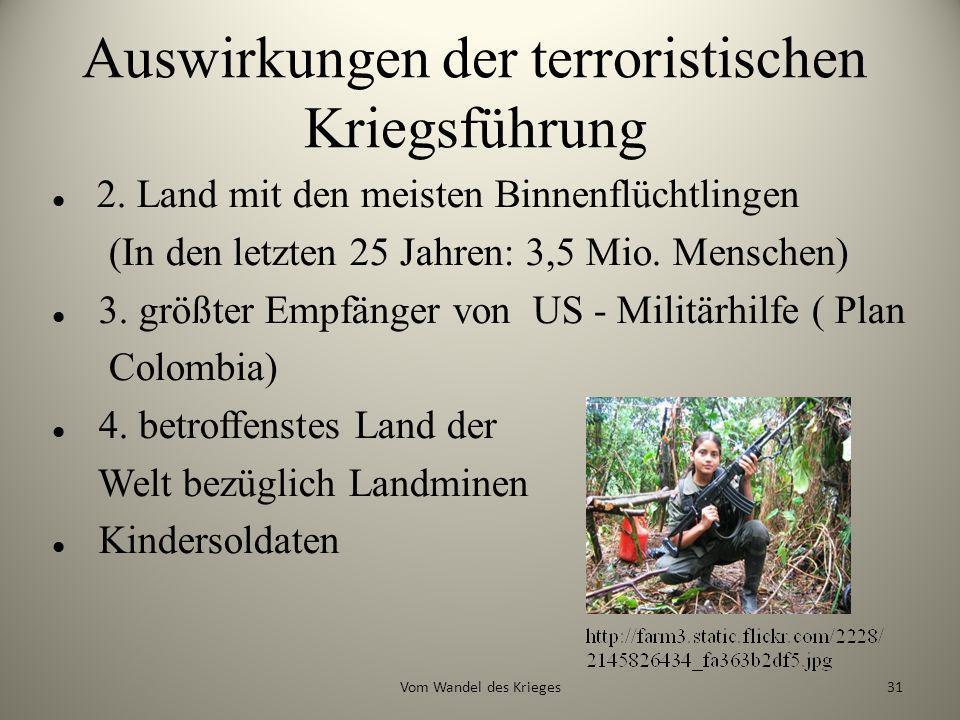 Auswirkungen der terroristischen Kriegsführung 2. Land mit den meisten Binnenflüchtlingen (In den letzten 25 Jahren: 3,5 Mio. Menschen) 3. größter Emp