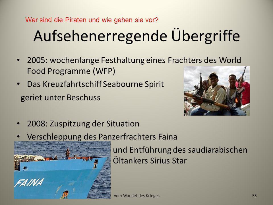 Aufsehenerregende Übergriffe 2005: wochenlange Festhaltung eines Frachters des World Food Programme (WFP) Das Kreuzfahrtschiff Seabourne Spirit geriet