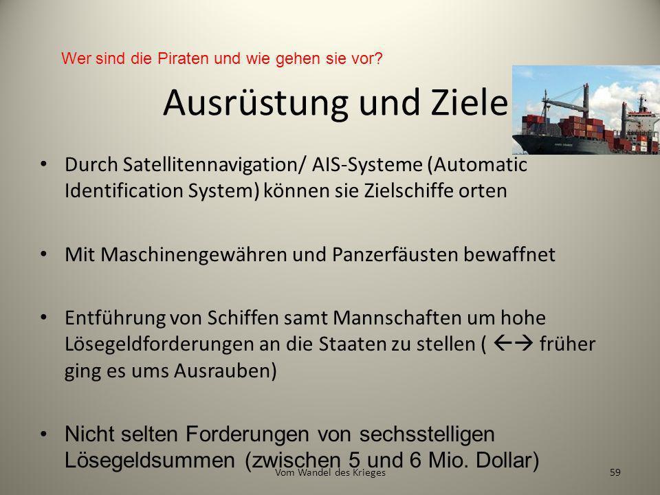 Ausrüstung und Ziele Durch Satellitennavigation/ AIS-Systeme (Automatic Identification System) können sie Zielschiffe orten Mit Maschinengewähren und