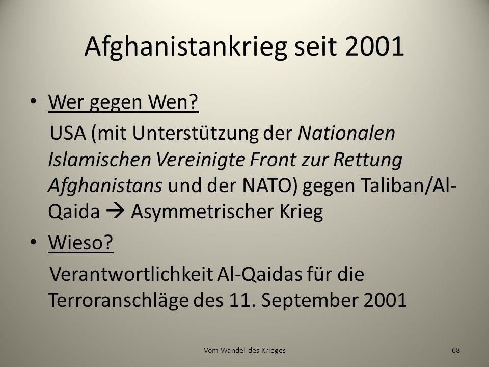 Afghanistankrieg seit 2001 Wer gegen Wen? USA (mit Unterstützung der Nationalen Islamischen Vereinigte Front zur Rettung Afghanistans und der NATO) ge