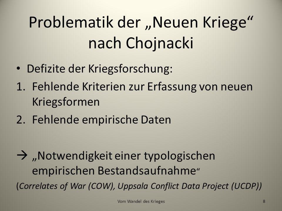 Problematik der Neuen Kriege nach Chojnacki Defizite der Kriegsforschung: 1.Fehlende Kriterien zur Erfassung von neuen Kriegsformen 2.Fehlende empiris