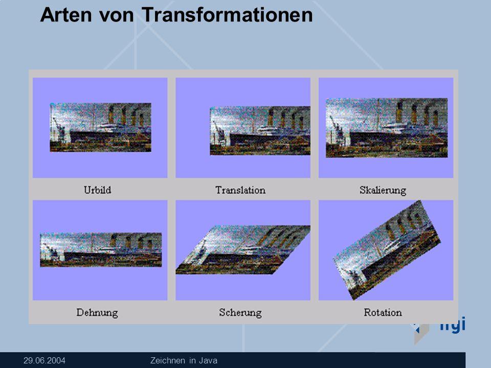 29.06.2004Zeichnen in Java Arten von Transformationen