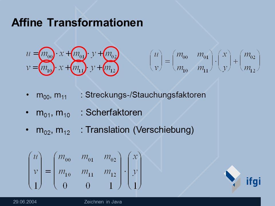29.06.2004Zeichnen in Java Affine Transformationen m 00, m 11 : Streckungs-/Stauchungsfaktoren m 01, m 10 : Scherfaktoren m 02, m 12 : Translation (Verschiebung)