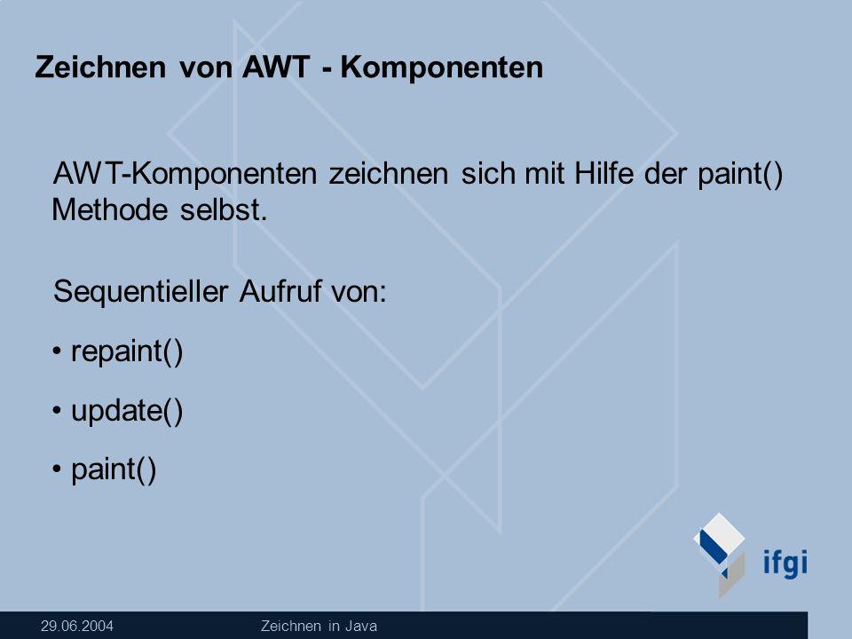 29.06.2004Zeichnen in Java Zeichnen von AWT - Komponenten AWT-Komponenten zeichnen sich mit Hilfe der paint() Methode selbst.