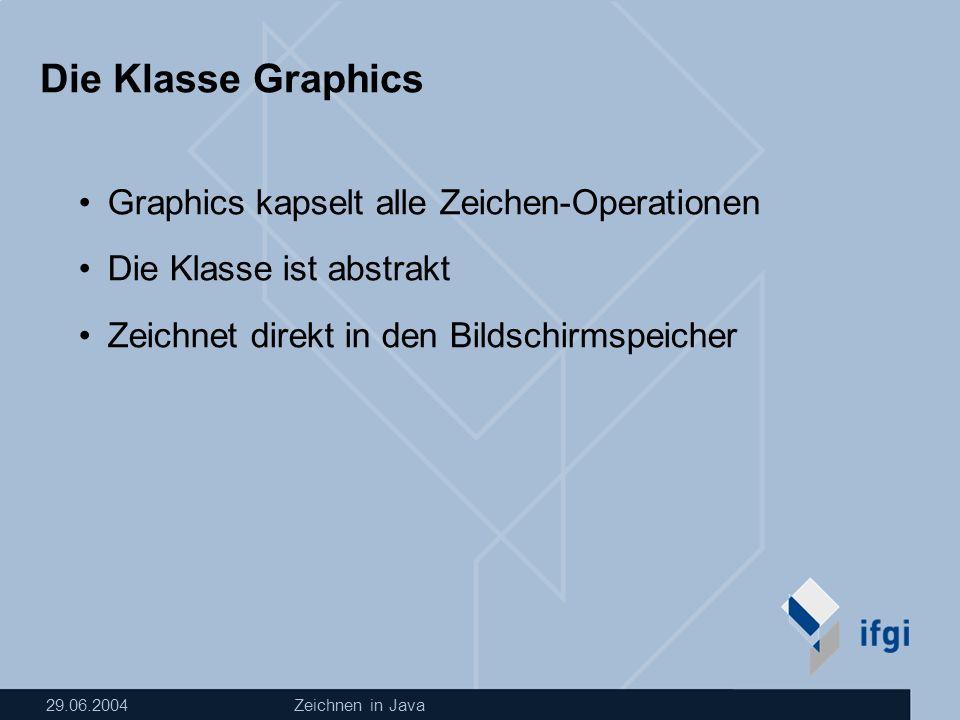 29.06.2004Zeichnen in Java Transformationen in Java Graphics2D Seit Java 1.2 verfügbar unterstützt affine Transformationen Rotationen Streckungen Verschiebungen erbt von Graphics In Java 1.2 können Graphics-Objekte in Graphics2D umgewandelt werden: Graphics2D g2D=(Graphics2D) g;