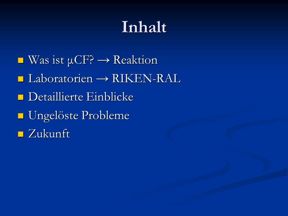 Inhalt Was ist μCF? Reaktion Was ist μCF? Reaktion Laboratorien RIKEN-RAL Laboratorien RIKEN-RAL Detaillierte Einblicke Detaillierte Einblicke Ungelös
