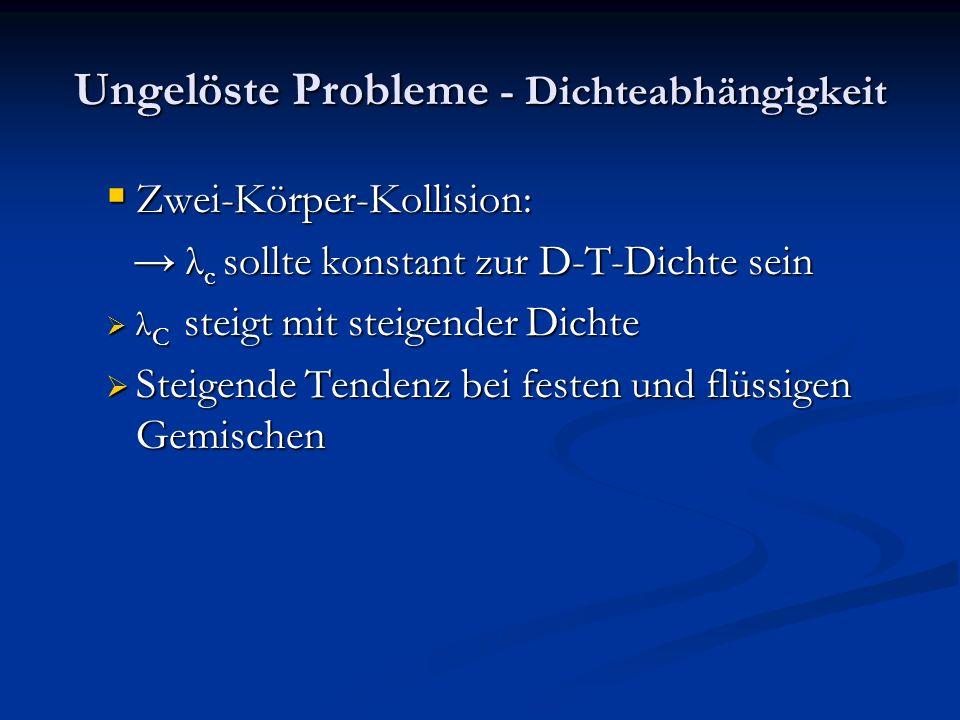 Ungelöste Probleme - Dichteabhängigkeit Zwei-Körper-Kollision: Zwei-Körper-Kollision: λ c sollte konstant zur D-T-Dichte sein λ c sollte konstant zur