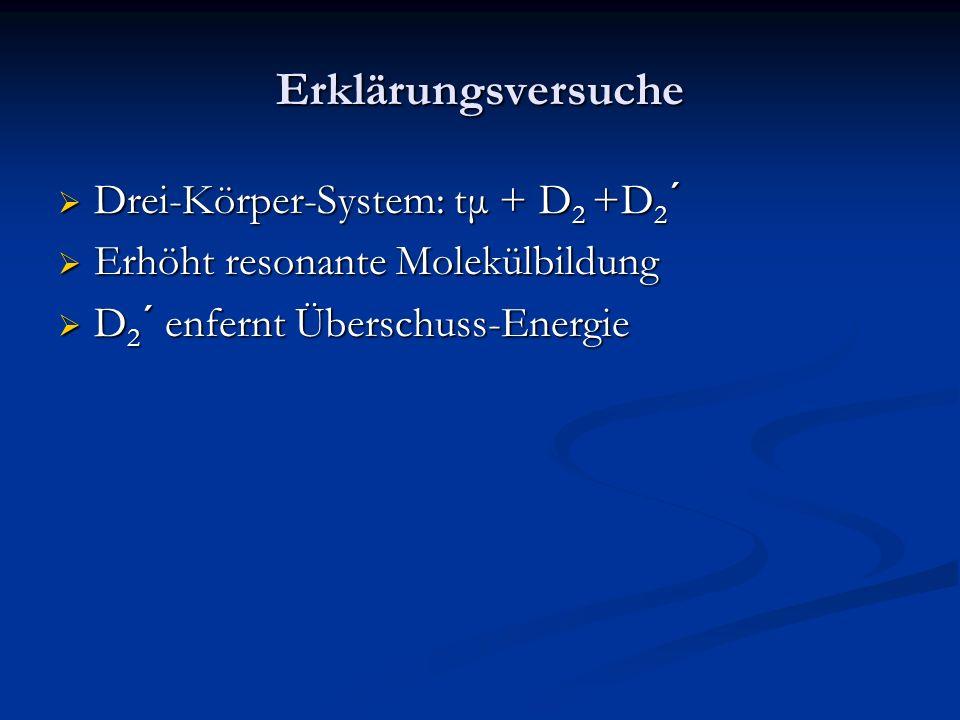 Erklärungsversuche Drei-Körper-System: tμ + D 2 +D 2 ´ Drei-Körper-System: tμ + D 2 +D 2 ´ Erhöht resonante Molekülbildung Erhöht resonante Molekülbil
