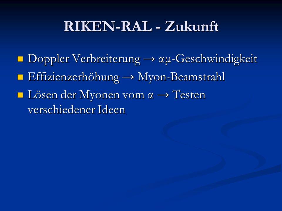 RIKEN-RAL - Zukunft Doppler Verbreiterung αμ-Geschwindigkeit Doppler Verbreiterung αμ-Geschwindigkeit Effizienzerhöhung Myon-Beamstrahl Effizienzerhöh