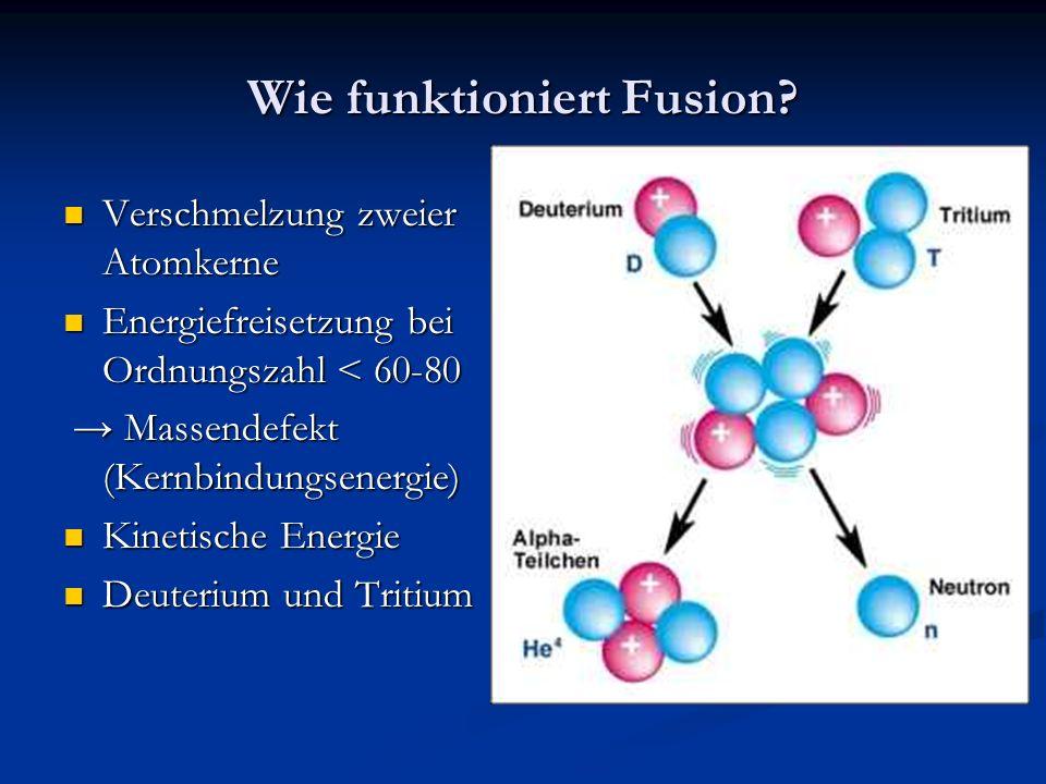 Wie funktioniert Fusion? Verschmelzung zweier Atomkerne Verschmelzung zweier Atomkerne Energiefreisetzung bei Ordnungszahl < 60-80 Energiefreisetzung