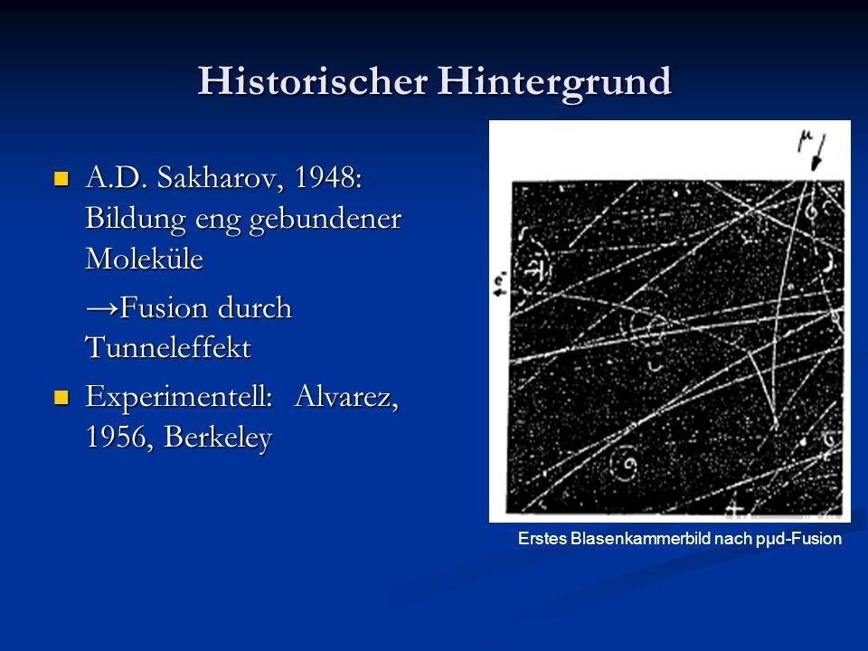Historischer Hintergrund A.D. Sakharov, 1948: Bildung eng gebundener Moleküle A.D. Sakharov, 1948: Bildung eng gebundener Moleküle Fusion durch Tunnel