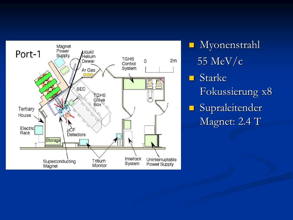Myonenstrahl 55 MeV/c Starke Fokussierung x8 Supraleitender Magnet: 2.4 T