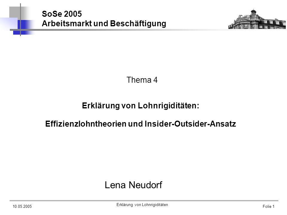10.05.2005 Erklärung von Lohnrigiditäten Folie 1 Erklärung von Lohnrigiditäten: Effizienzlohntheorien und Insider-Outsider-Ansatz Lena Neudorf SoSe 20