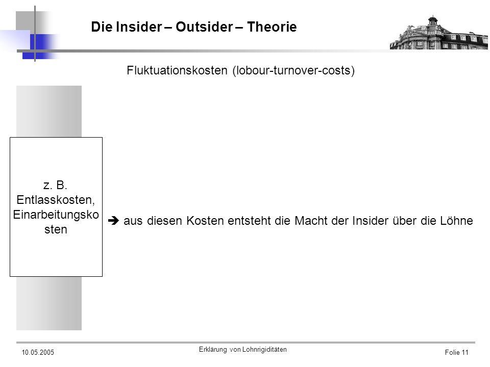 10.05.2005 Erklärung von Lohnrigiditäten Folie 11 Die Insider – Outsider – Theorie Fluktuationskosten (lobour-turnover-costs) aus diesen Kosten entste