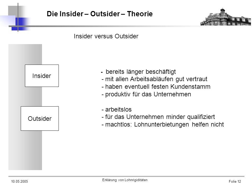 10.05.2005 Erklärung von Lohnrigiditäten Folie 12 Die Insider – Outsider – Theorie Insider versus Outsider - bereits länger beschäftigt - mit allen Ar