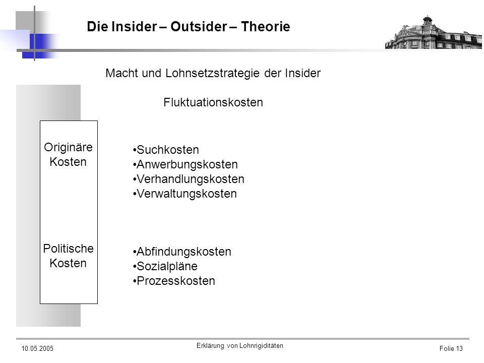 10.05.2005 Erklärung von Lohnrigiditäten Folie 13 Die Insider – Outsider – Theorie Macht und Lohnsetzstrategie der Insider Fluktuationskosten Originär