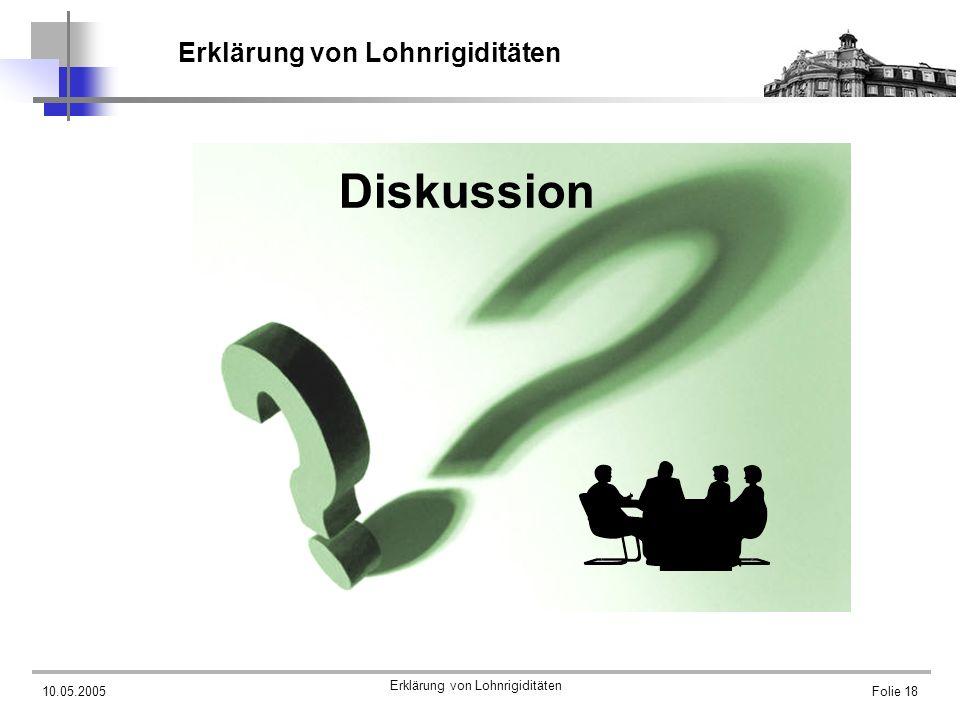 10.05.2005 Erklärung von Lohnrigiditäten Folie 18 Erklärung von Lohnrigiditäten Diskussion