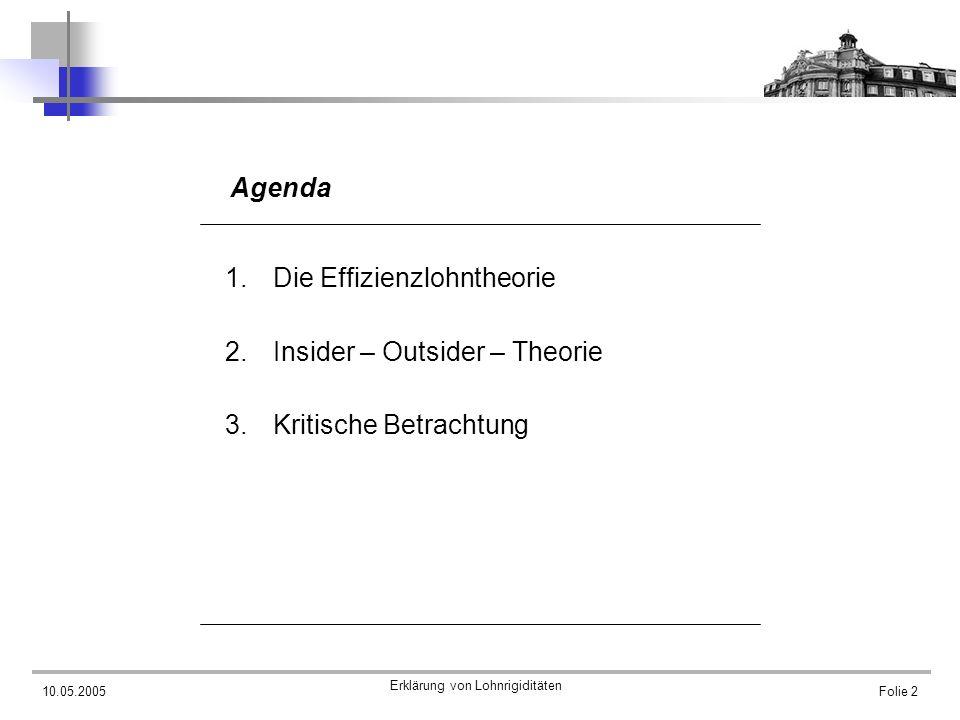 10.05.2005 Erklärung von Lohnrigiditäten Folie 3 Agenda 1.Die Effizienzlohntheorie 2.Insider – Outsider – Theorie 3.Kritische Betrachtung