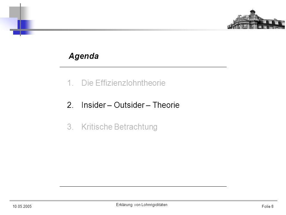 10.05.2005 Erklärung von Lohnrigiditäten Folie 9 Die Insider – Outsider – Theorie Grundgedanken der Theorie 3 Gruppen Insider Entrants Outsider