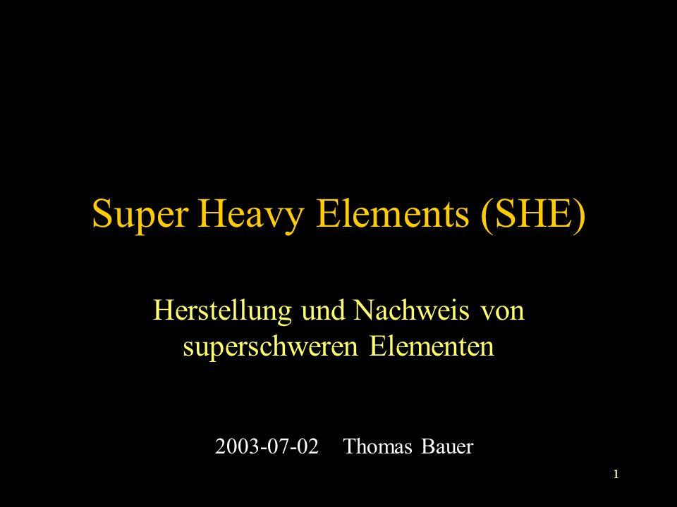 1 Super Heavy Elements (SHE) Herstellung und Nachweis von superschweren Elementen 2003-07-02 Thomas Bauer