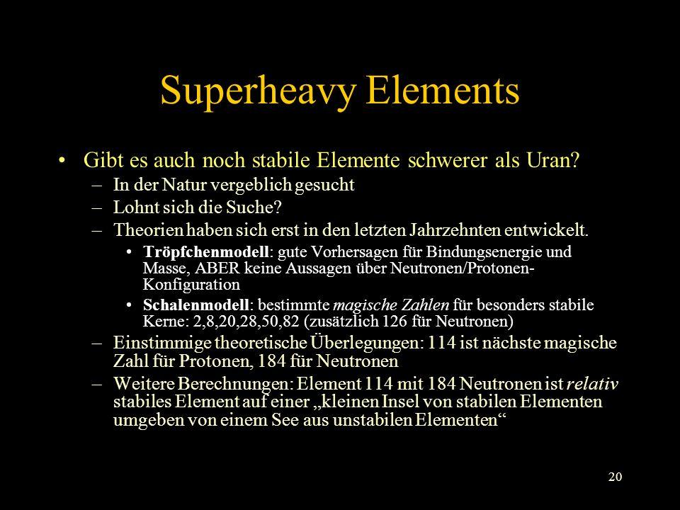 20 Superheavy Elements Gibt es auch noch stabile Elemente schwerer als Uran.