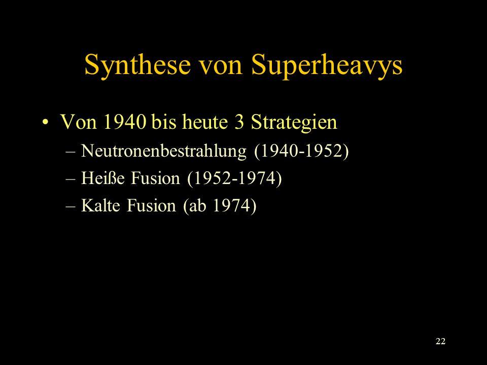 22 Synthese von Superheavys Von 1940 bis heute 3 Strategien –Neutronenbestrahlung (1940-1952) –Heiße Fusion (1952-1974) –Kalte Fusion (ab 1974)