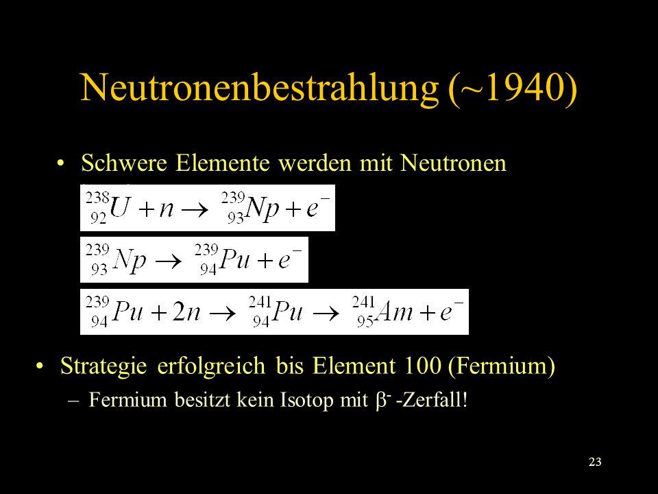 23 Neutronenbestrahlung (~1940) Schwere Elemente werden mit Neutronen beschossen Strategie erfolgreich bis Element 100 (Fermium) –Fermium besitzt kein Isotop mit - -Zerfall!
