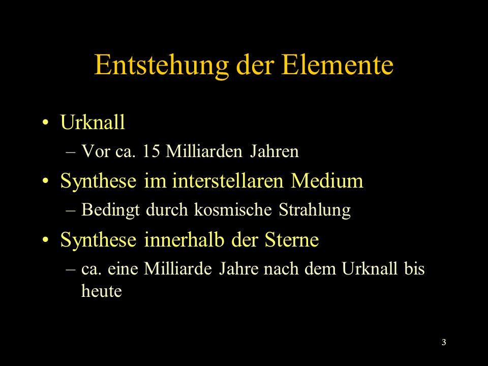 3 Entstehung der Elemente Urknall –Vor ca.