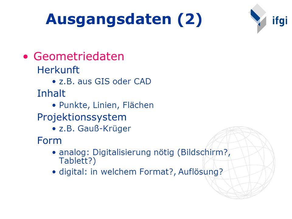 Ausgangsdaten (2) Geometriedaten Herkunft z.B. aus GIS oder CAD Inhalt Punkte, Linien, Flächen Projektionssystem z.B. Gauß-Krüger Form analog: Digital