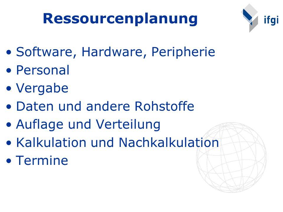 Ressourcenplanung Software, Hardware, Peripherie Personal Vergabe Daten und andere Rohstoffe Auflage und Verteilung Kalkulation und Nachkalkulation Te