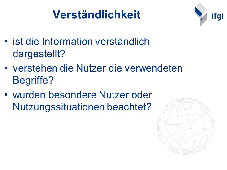 Verständlichkeit ist die Information verständlich dargestellt? verstehen die Nutzer die verwendeten Begriffe? wurden besondere Nutzer oder Nutzungssit