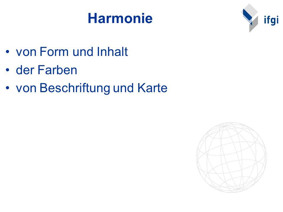 Harmonie von Form und Inhalt der Farben von Beschriftung und Karte