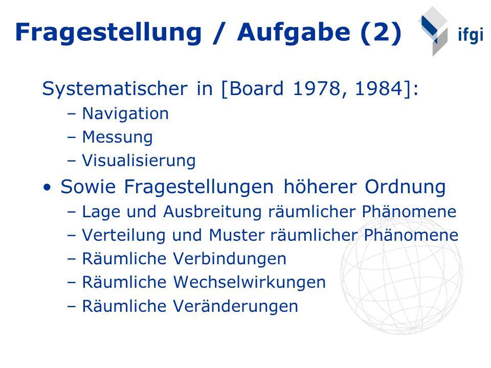 Fragestellung / Aufgabe (2) Systematischer in [Board 1978, 1984]: –Navigation –Messung –Visualisierung Sowie Fragestellungen höherer Ordnung –Lage und