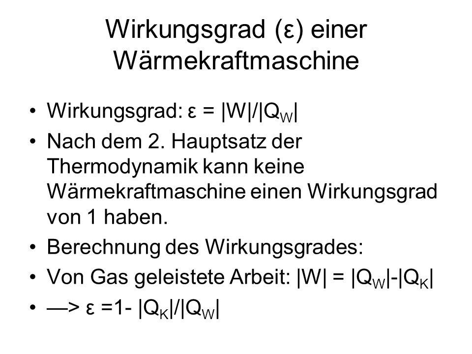 Wirkungsgrad (ε) einer Wärmekraftmaschine Wirkungsgrad: ε =  W / Q W   Nach dem 2. Hauptsatz der Thermodynamik kann keine Wärmekraftmaschine einen Wir