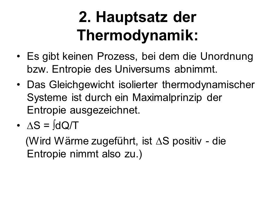 2. Hauptsatz der Thermodynamik: Es gibt keinen Prozess, bei dem die Unordnung bzw. Entropie des Universums abnimmt. Das Gleichgewicht isolierter therm