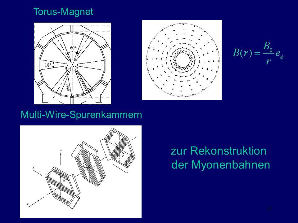 20 Torus-Magnet Multi-Wire-Spurenkammern zur Rekonstruktion der Myonenbahnen