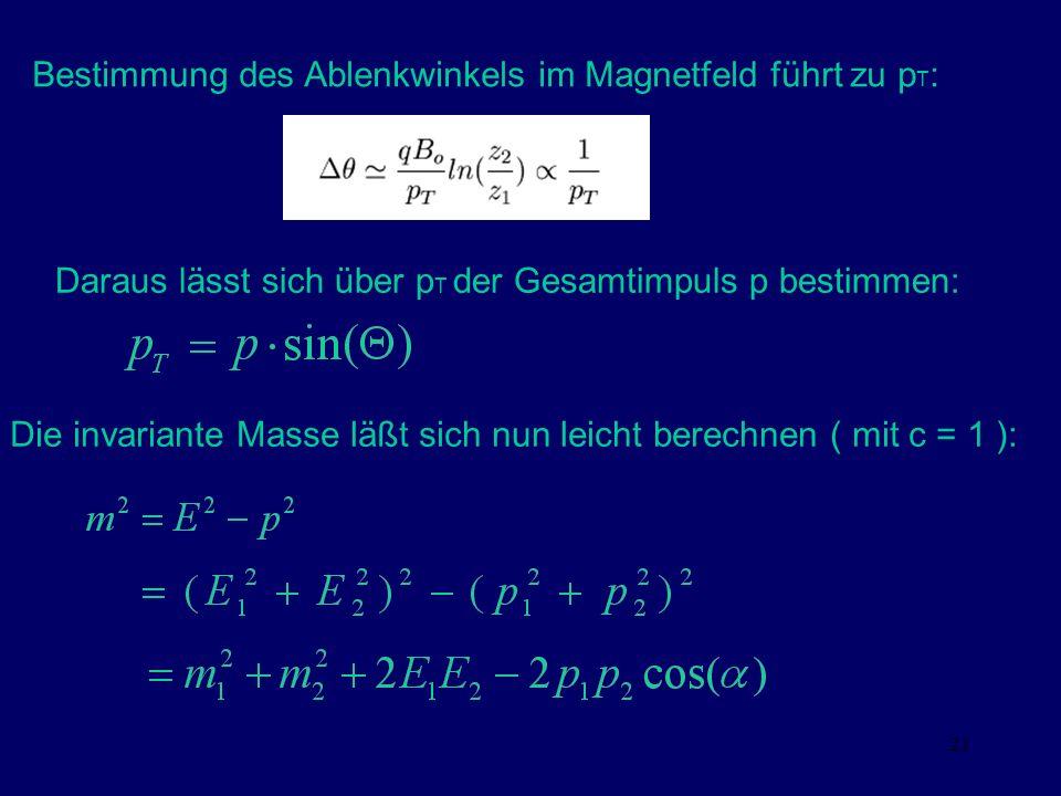 21 Bestimmung des Ablenkwinkels im Magnetfeld führt zu p T : Daraus lässt sich über p T der Gesamtimpuls p bestimmen: Die invariante Masse läßt sich n