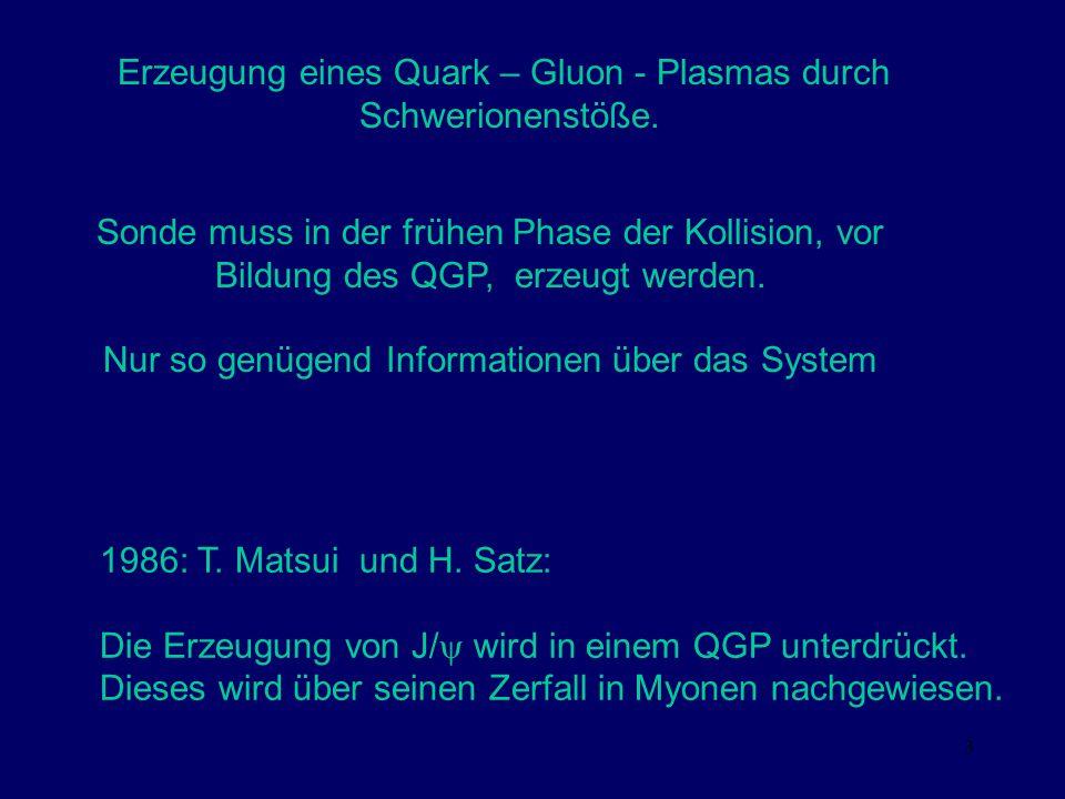 3 Erzeugung eines Quark – Gluon - Plasmas durch Schwerionenstöße. Sonde muss in der frühen Phase der Kollision, vor Bildung des QGP, erzeugt werden. N
