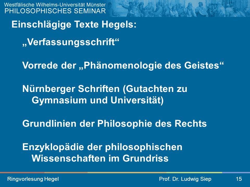 Ringvorlesung HegelProf. Dr. Ludwig Siep15 Einschlägige Texte Hegels: Verfassungsschrift Vorrede der Phänomenologie des Geistes Nürnberger Schriften (