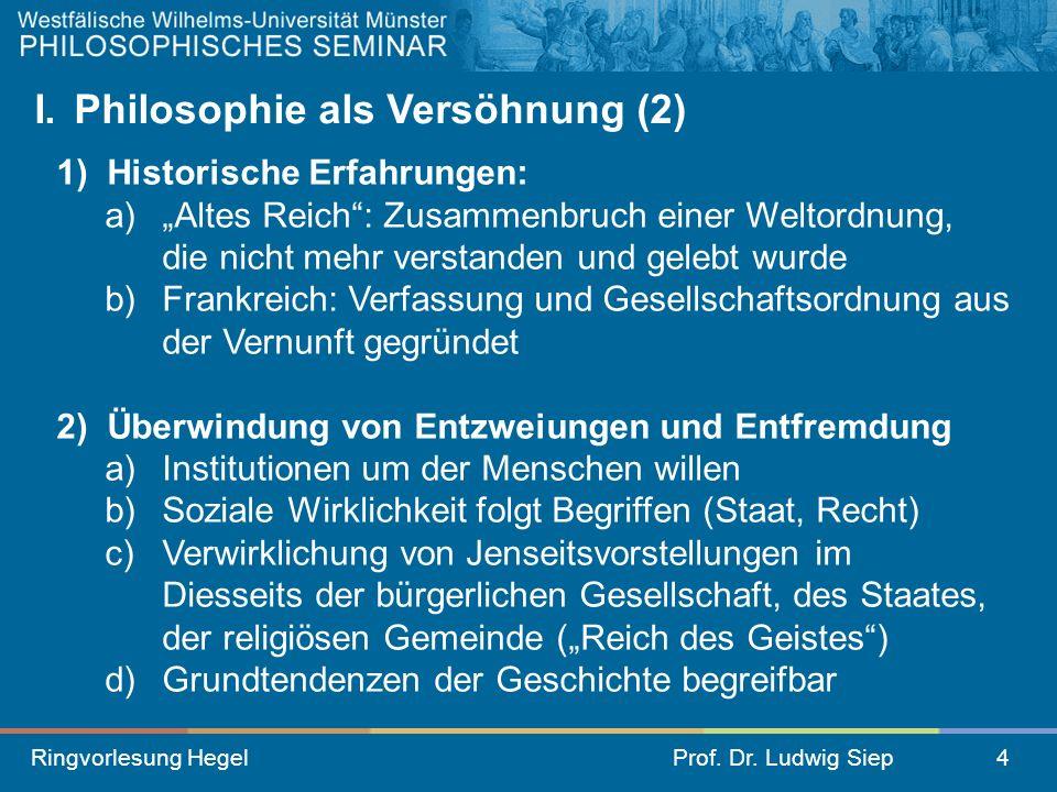 Ringvorlesung HegelProf. Dr. Ludwig Siep4 I. Philosophie als Versöhnung (2) 1) Historische Erfahrungen: a) Altes Reich: Zusammenbruch einer Weltordnun