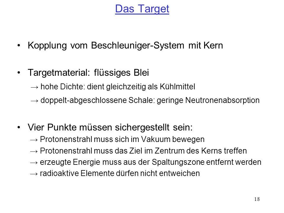 18 Das Target Kopplung vom Beschleuniger-System mit Kern Targetmaterial: flüssiges Blei hohe Dichte: dient gleichzeitig als Kühlmittel doppelt-abgesch