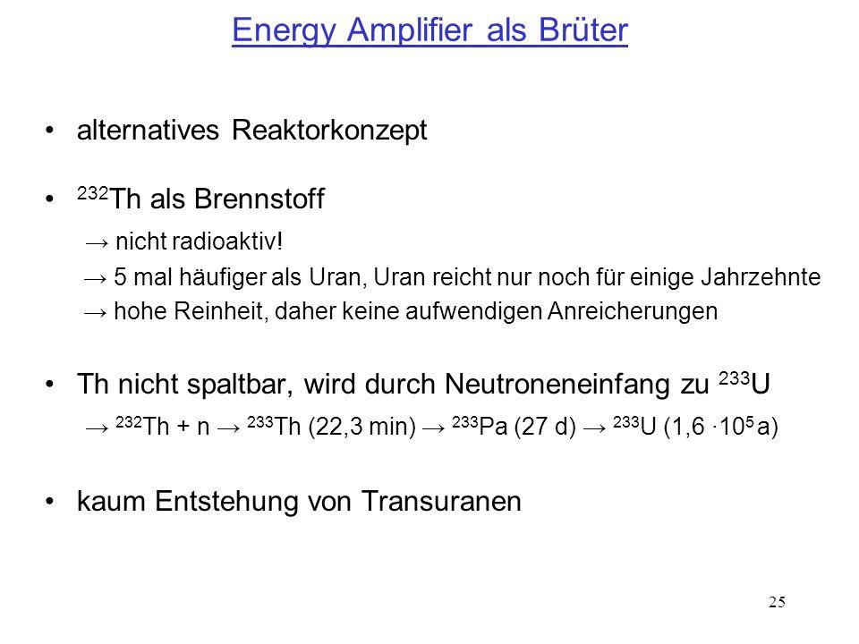 25 Energy Amplifier als Brüter alternatives Reaktorkonzept 232 Th als Brennstoff nicht radioaktiv! 5 mal häufiger als Uran, Uran reicht nur noch für e