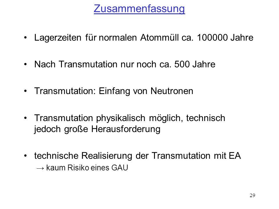 29 Zusammenfassung Lagerzeiten für normalen Atommüll ca. 100000 Jahre Nach Transmutation nur noch ca. 500 Jahre Transmutation: Einfang von Neutronen T