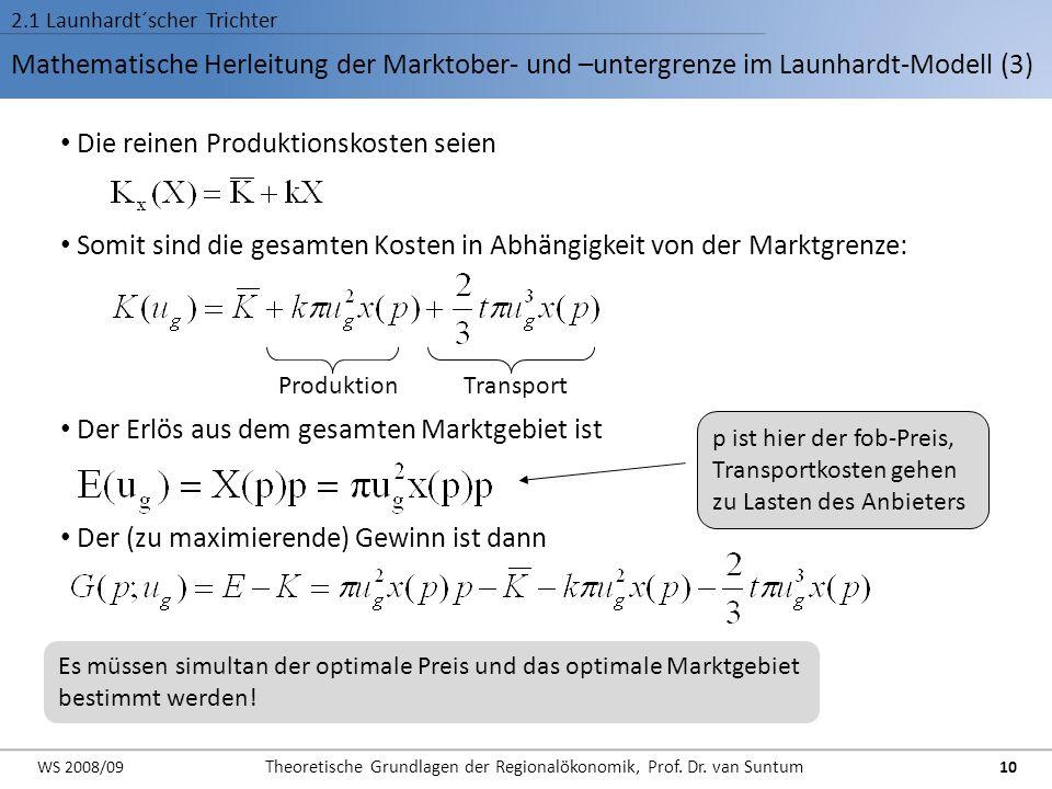 Mathematische Herleitung der Marktober- und –untergrenze im Launhardt-Modell (3) 2.1 Launhardt´scher Trichter Die reinen Produktionskosten seien Somit