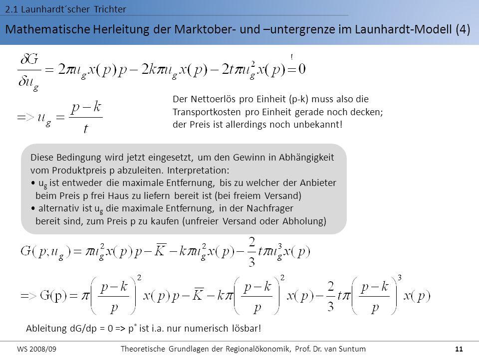 Mathematische Herleitung der Marktober- und –untergrenze im Launhardt-Modell (4) 2.1 Launhardt´scher Trichter Der Nettoerlös pro Einheit (p-k) muss al
