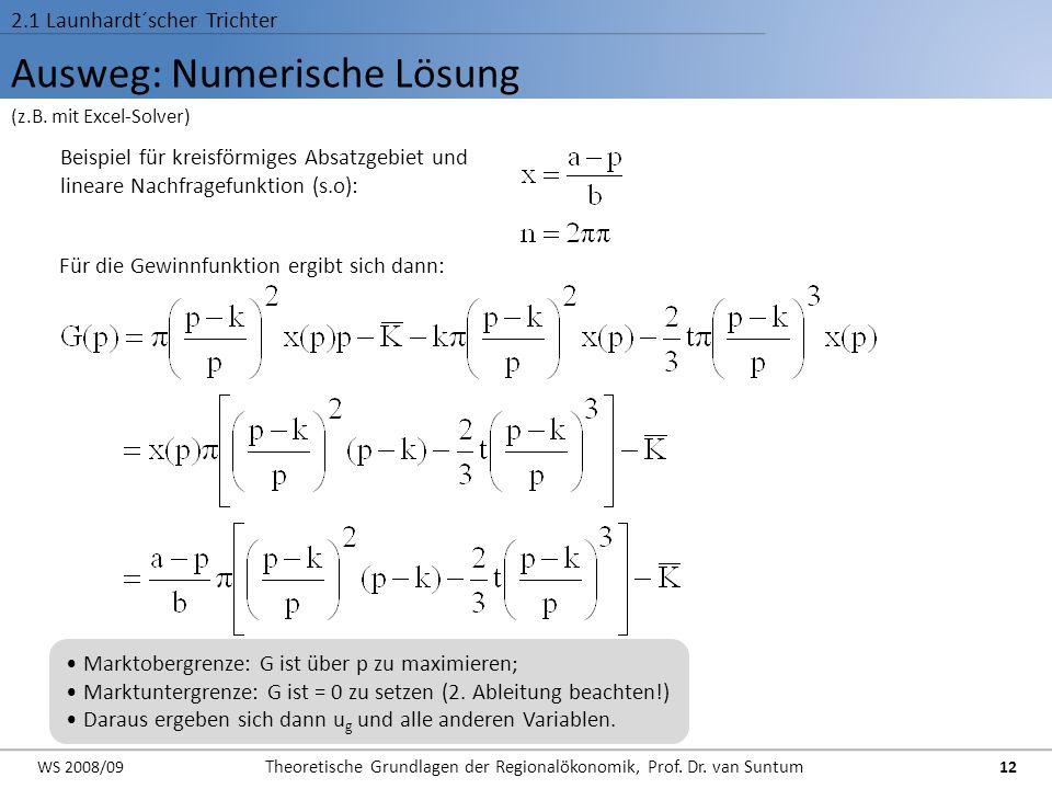 Ausweg: Numerische Lösung 2.1 Launhardt´scher Trichter Beispiel für kreisförmiges Absatzgebiet und lineare Nachfragefunktion (s.o): Für die Gewinnfunk