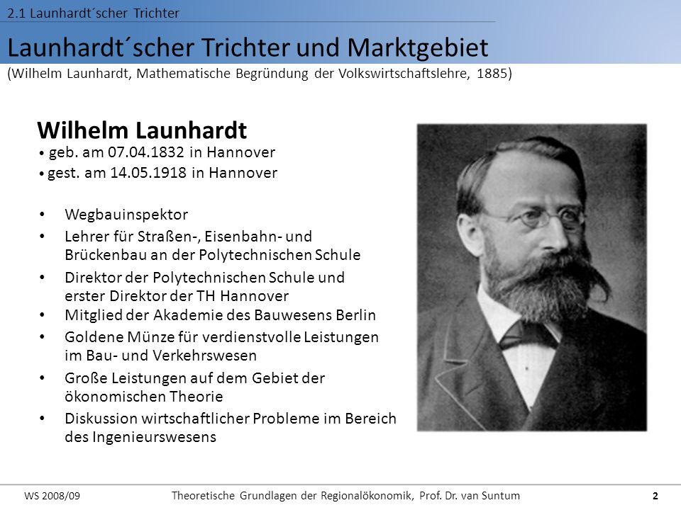 Launhardt´scher Trichter und Marktgebiet (Wilhelm Launhardt, Mathematische Begründung der Volkswirtschaftslehre, 1885) 2.1 Launhardt´scher Trichter Wi