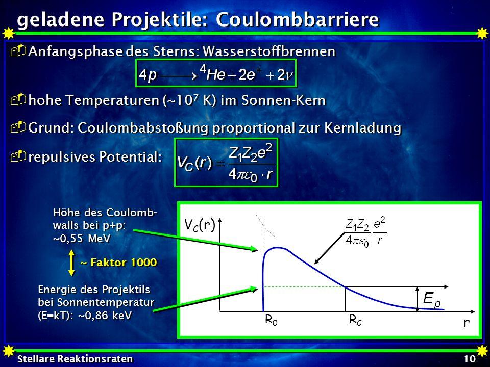 Stellare Reaktionsraten 10 geladene Projektile: Coulombbarriere Anfangsphase des Sterns: Wasserstoffbrennen hohe Temperaturen (~10 7 K) im Sonnen-Kern