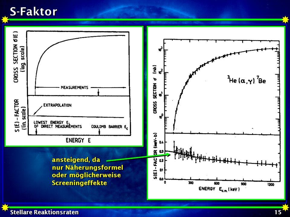 Stellare Reaktionsraten 15 S-Faktor ansteigend, da nur Näherungsformel oder möglicherweise Screeningeffekte ansteigend, da nur Näherungsformel oder mö