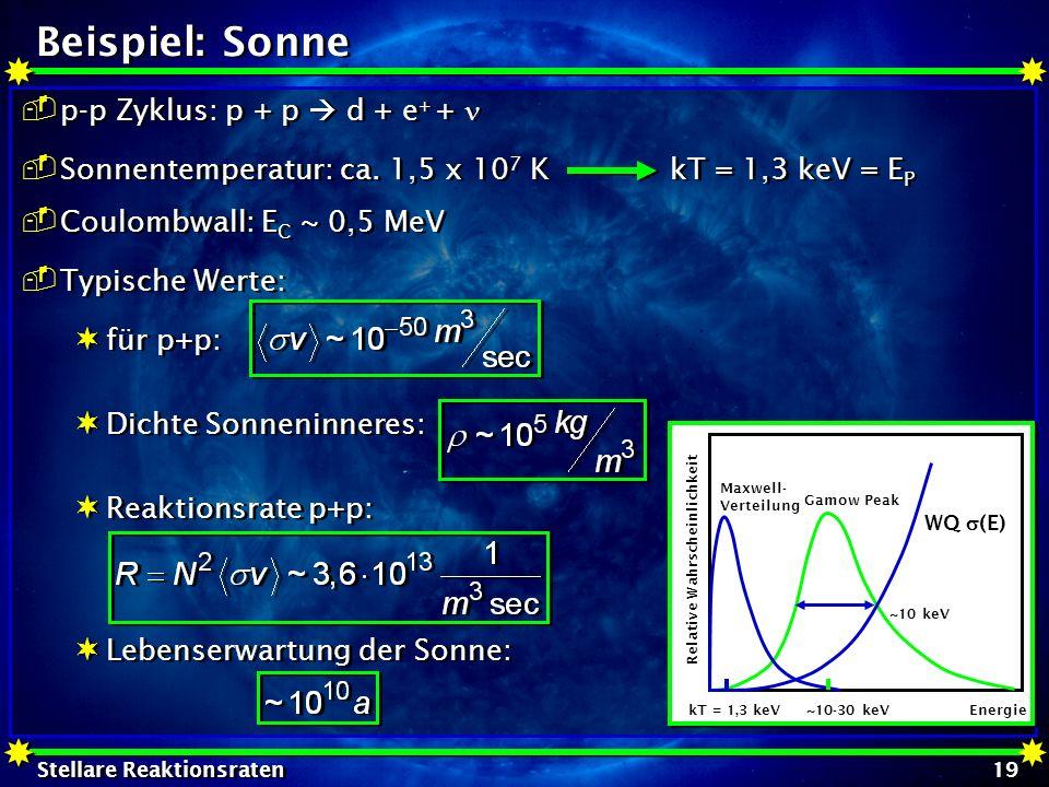 Stellare Reaktionsraten 19 Beispiel: Sonne p-p Zyklus: p + p d + e + + Sonnentemperatur: ca. 1,5 x 10 7 K kT = 1,3 keV = E P Coulombwall: E C ~ 0,5 Me